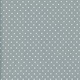 Tela gris medio y blanco - Lunares - 100% algodón suave | ancho: 140cm (1 metro)