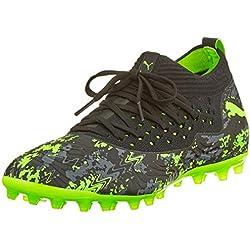 Puma Future 19.2 Netfit MG, Chaussures de Football Homme, Noir Black-Charcoal Gray-Green Gecko, 43 EU
