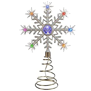 WeRChristmas Pre-Lit Santa Christmas Tree Topper Decoration with 8 Colour Changing LED Lights, 29 cm - Multi-Colour