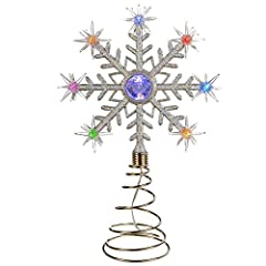 Idea Regalo - Puntale per albero di Natale, cambia colore, con luci LED a fiocchi di neve