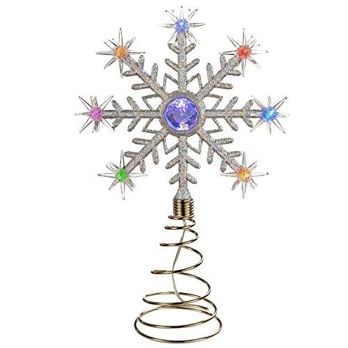 Estrella para árbol de navidad con luces LED de colores, diseño de copo de nieve
