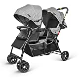 besrey Double Stroller Pushchair Buggy Foldable Baby Pram with Backrest Push Handle