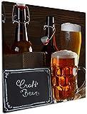 Wallario Leinwandbild Biervarianten - Pils im Glas Flaschenbier Schild Craft Beer - 50 x 50 cm in Premium-Qualität: Brillante