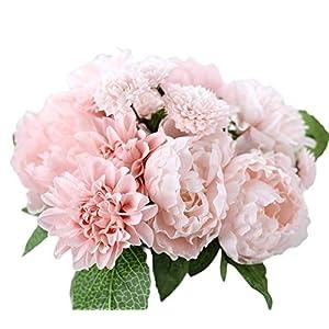 Lumanuby Schön Künstliche Blumen Pfingstrosen/Dahlie Blumen/Melaleuca Seide Blumensträuße Für Home Hotel Hochzeit Wohnzimmer DIY Dekoration