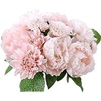 Hosaire Fleurs artificielles de Bouquets Dahlia Peony Flower Fleur de simulation de la fête des mères Décoration pour Maison Mariage