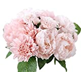 Da.Wa Schön Künstlich Blumen Pfingstrose Wohnaccessoires Deko Kunstblumen Blumenstrauß Pfingst Seide Blume Blatt Für Hochzeit Partei Fest Haus Büro Bar Dekor (Rosa)