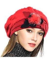 VECRY Mujeres Lana Boinas Angola Gorro Casquete Invierno Sombrero 53ef869d164