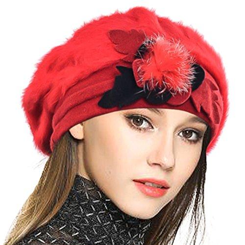 VECRY Damen Wolle Barette Angola Kleid Beanie Schädel Mützen Stricken Winter Hüte (Rot) -