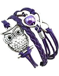 Malloom® moda mujer infinito búho amar con perlas multicapa cuero encanto Pulseras (púrpura(Purple))