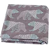 LifeTree Bamboo Muslin Cloths - 120cm x 120cm Soft Bamboo Cotton Baby Muslin Swaddle Blankets Muslin Squares for Boys & Girls Bear Print