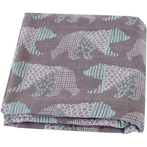 LifeTree Sommer Weichen Musselin Pucktücher, 120 x 120 cm Bambus/Baumwolle Swaddle Blanket, Mullwindeln für Junge und Mädchen (Bär) -