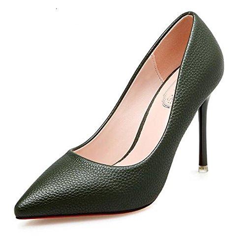 DIMAOL Scarpe Donna PU Primavera Cadono Comfort Tacchi Stiletto Heel per Esercito Casual Verde Nero Marrone Army Green