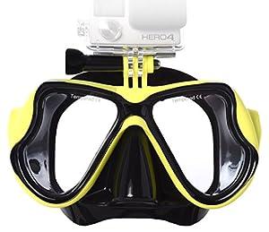 Lyhoon Máscara de buceo de cristal revestida para Submarinismo y Snorkel Compatible con Xiaomi Yi Cámara GoPro Hero 1, 2, 3, 3+, 4 SJ4000 SJ5000 SJ6000