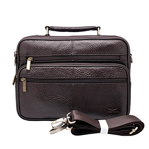 Rindsleder Leder Cross Body (vidlea 25,4cm Tablet Cross Body Messenger Bag School Day Bag Rindsleder Leder Tasche mit Schultergurt braun braun)