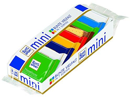 RITTER SPORT mini Bunter Mix (12 x 150 g), 7 leckere Sorten, gefüllte Vollmilchschokolade, Halbbitter- & Edelvollmilch-Schokolade, kleine Schokoladentafeln (Ritter Sport Marzipan)