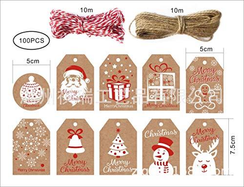 Etiquetas de regalo de Navidad, 100pcs etiquetas de papel kraft marrón con cuerda de algodón y cuerda, etiquetas pequeñas de regalo de Navidad para envolver regalos DIY Craft Favour Decor
