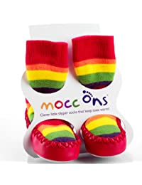 Sock Ons - Mocc Ons Moccasin style Slipper Socks, 6-12 Month, Rainbow