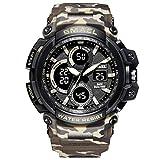 Blisfille Armbanduhr Männer Vintage Militärisch Herrenuhr Tarnung Multifunktional Outdoor Sportuhr Armbanduhr Automatikuhr