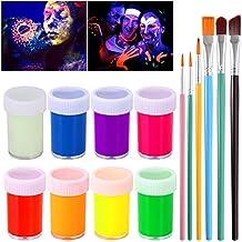 NUOLUX UV Glow Blacklight Pintura para rostro y cuerpo 8 colores Fluorescent Pigment y 6pcs Paint Brushes
