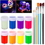 NUOLUX UV Glow Blacklight Pintura para rostro y cuerpo 8 colores Fluorescent Pigment y 6pcs Paint Brushes