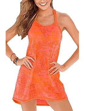 Nuovo donna Racer back arancione vestito estivo da spiaggia casual vestito taglia S UK 8–10EU 36–38