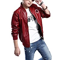 Monvecle Big Boy's Trendy Stand-Collar PU Leather Moto Jacket Coat Wine 12-13 Years