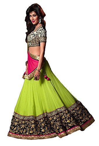 Omsai Fashion Women Faux Georgette Lehenga Choli(Green_Chitrangada_Green_Free Size)