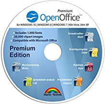 OpenOffice Premium Edition for Windows 10-8-7-Vista-XP | PC Software and 1.000 New Fonts and 20.000 ClipArts | Alternative to Microsoft Office | Compatible with Word, Excel and PowerPoint