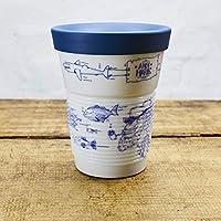 Ahoi Marie Coffee To Go Becher mit Trinkdeckel 0,35 l aus Porzellan/Motiv Fische/Modell Kahla cupit mit Magic Grip