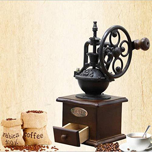 MASODHDFX Manuelle Kaffeemühle Antike Gusseisen-Handkurbel-Kaffeemühle mit Mahlgradeinstellung und Fangschublade (Antike Manuelle Kaffeemühle)