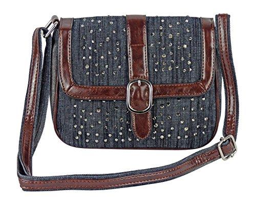 Süße Jeans Style Umhängetasche mit kleinen Steinchen/Nieten - Glitzereffekt - Maße ohne Henkel 21x17x8 cm - Damen Mädchen Teenager Tasche - Used Look Style schwarz/J