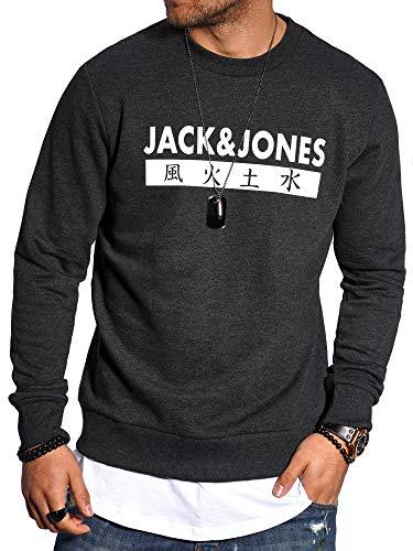 JACK & JONES Herren Sweatshirt Pullover Print Rundhals Streetwear 4 Elements (Large, Dark Grey Melange)