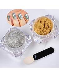 Meicaillin 2 Pots Poudre Magique Effet Miroir Or Argent Scintillement Nail Art Manucure