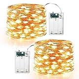 BrizLabs 2 x 60er Micro LED Lichterkette Batterie 6M Kupferdraht Sterne Lichterketten Innen...