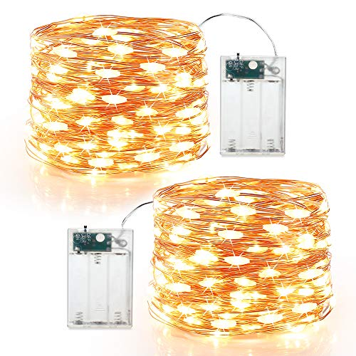 BrizLabs 2 x 60er Micro LED Lichterkette Batterie 6M Kupferdraht Sterne Lichterketten Innen Batteriebetrieben Beleuchtung für Party Garten Weihnachten Halloween Zimmer Hochzeit DIY Deko (Warmweiß)