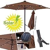 KESSER Sonnenschirm ✔ Alu ✔ LED ✔ Solar✔ Ø 270cm ✔ Kurbelsonnenschirm Gartenschirm Ampelschirm 2,7m ✔ An-/Aus- Druckknopfschalter ✔wasserabweisende Bespannung - Sonnenschirm Schirm Gartenschirm Marktschirm Braun