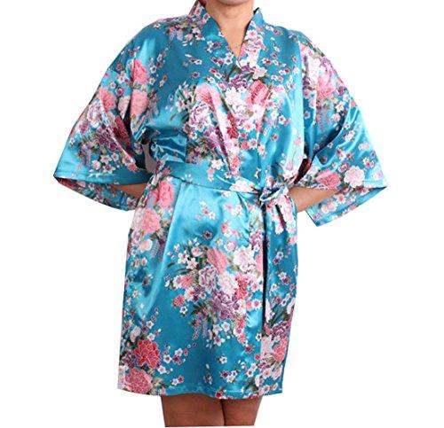 ACVIP Damen Blumen Muster Nachtwäsche Bademantel Morgenmantel mit Gürtel Hauskleid Blau
