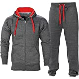 BE JEALOUS Herren Essentials Contrast Trainingsanzug Fleece Kapuzenpullis Jogginghose Jogginghose Gym Set - Dunkelgrau/Rot, L