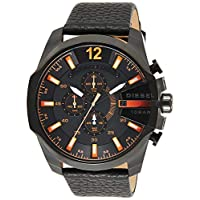 Diesel Dz4291'S Watch Quartz Chronograph Stopwatch-Black Leather Strap