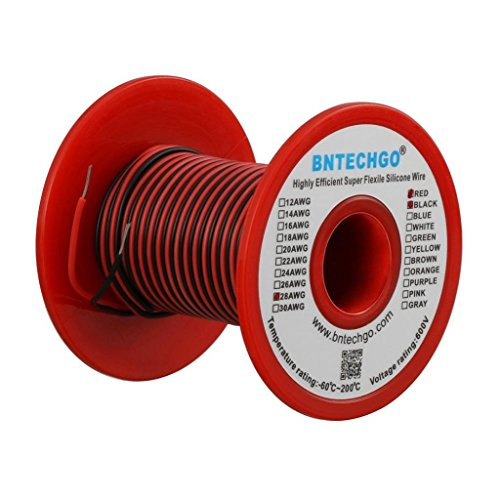 BNTECHGO 28 Gauge Silicone Wire Spool 50 feet Ultra Flexible High Temp 200 deg C 600V 28 AWG Silicone Wire 16 Strands of Tinned Copper Wire 25 ft Black and 25 ft Red Stranded Wire for Model -