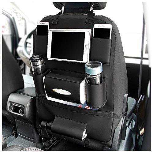 PU Leder Auto Rückenlehnenschutz, Auto Rücksitz Organizer und iPad Mini Halter Wasserdicht Autositzschoner, Kick-Matten-Schutz für Autositz für Kinder, Aufbewahrung Flaschen, schwarz, 1 Stück