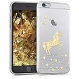 kwmobile Coque Apple iPhone 6 / 6S - Coque pour Apple iPhone 6 / 6S - Housse de téléphone en Silicone doré-Transparent