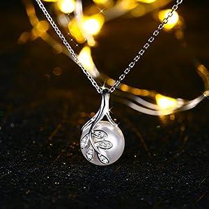 Collana, J.Rosée Foglia con Perla Argento 925 3A Zirconi Regalo di Natale con Confezione Bella 45cm+5cm