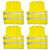 4 Stück Maxpack® Warnweste mit praktischem Klettverschluss in Unigröße --- EN 471, Gelb, waschbar (4)