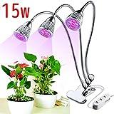 JOYOOO 3-Kopf LED Pflanzenlampe,15W rotes Blau Pflanzenlicht Wachstumslampe 360-Grad-flexibler dreiköpfiger justierbarer Schreibtisch-Klipp und drei Steuerschalter für Innengewächshaus
