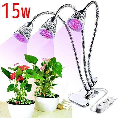JOYOOOLámpara LED para planta de 3 cabezales,15W Rojo azul Lámpara para crecimiento de luz vegetal,360 Grados flexible Clip ajustable para escritorio y tres interruptores de control para