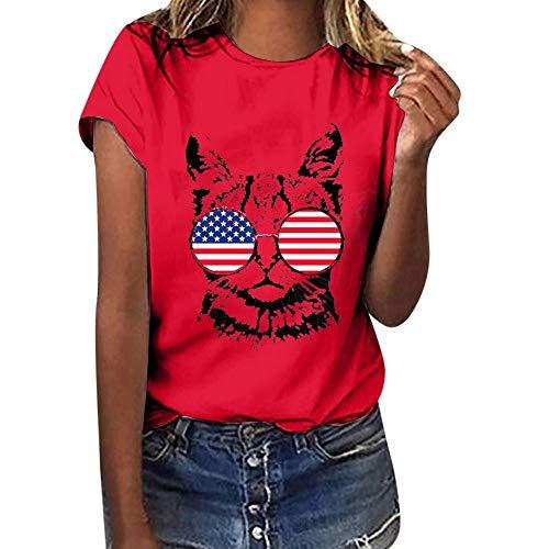 HEATLE Mode Damen Mädchen Top Übergröße Amerikanische Flagge Bluse Cat Print Tees-Shirt Kurze Ärmel S-3XL(rot,M)