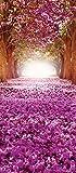 VLIESFOTOTAPETE PANEL Tür Türfototapeten Tapete Vlies | Welt-der-Träume| Lila Blumen Gasse | VET (211 cm. x 91cm.) | Door Mural Photo Sticker 10236VET-AW | Natur Landschaft Blume Blumen Gasse Tunnel