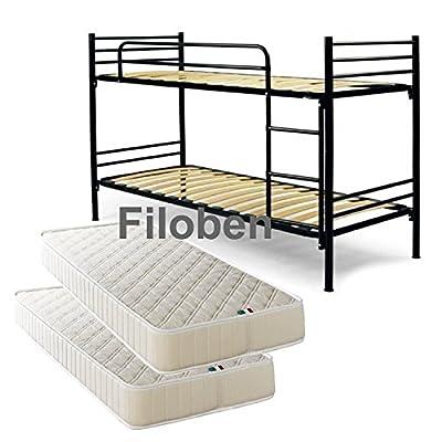 Negro litera cama somier completo con 2colchones en oferta