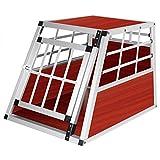 EUGAD Hundebox Hundetransportbox Aluminium Transportbox Alubox Hund 1 Türig Reisebox Gitterbox Dunkles Holzdekor HT2012dc